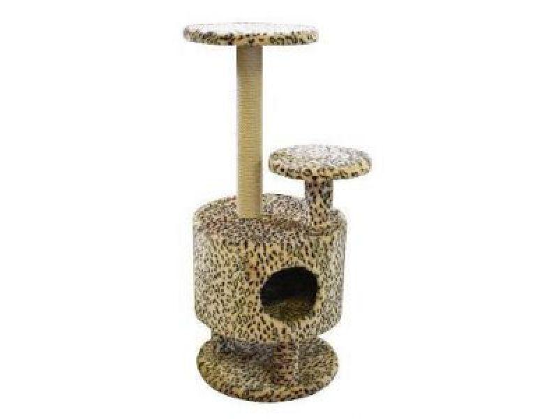 Пушок Меховой домик для кошки круглый со ступенькой на ножке, 42*42*98 см - Фото