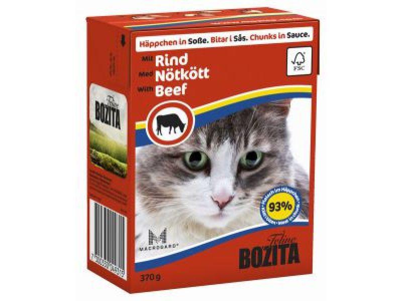 Bozita Feline Кусочки в СОУСЕ с ГОВЯДИНОЙ (Beef), для кошек, 370 гр    - Фото