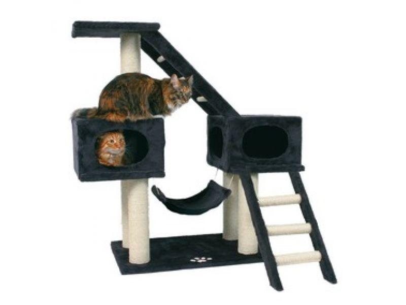 """Trixie Комплекс для кошки меховой """"Malaga"""", антрацит (43947), 70*45*109 см  - Фото"""