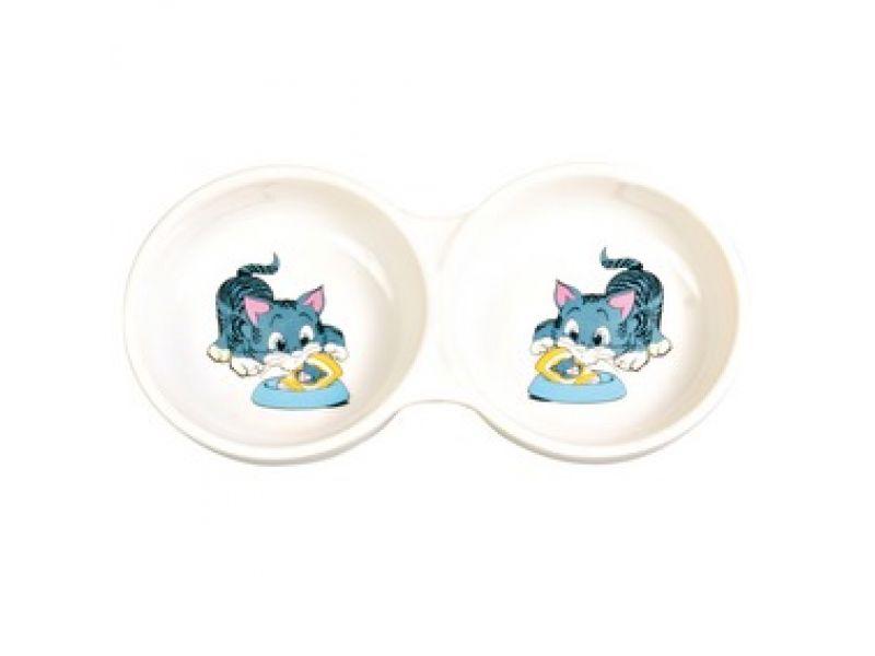 Миска Trixie двойная керамическая для кошек (4014), 2*150 мл, 11 см - Фото