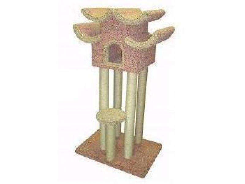 """Пушок Домик для кошек ковролиновый """"Пагода на высоте 1 м"""", 85*60*155 см   - Фото"""