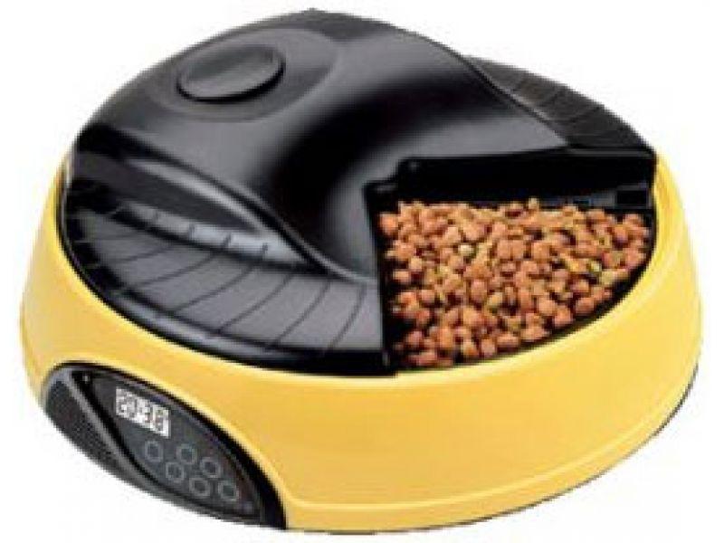 Автокормушка Feedex для кошек и собак с ЖК дисплеем и емкостью для льда (желтая) PF1Y, 4 кормления - Фото