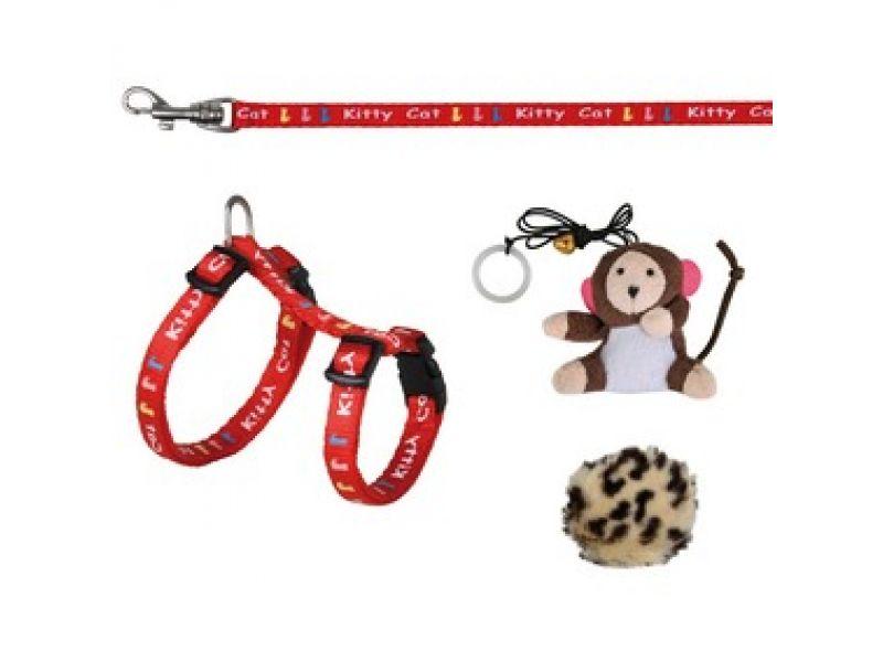 Trixie Шлейка с поводком и игрушками для КОТЯТ (4190), 21-33 см/8мм/1.20 м   - Фото