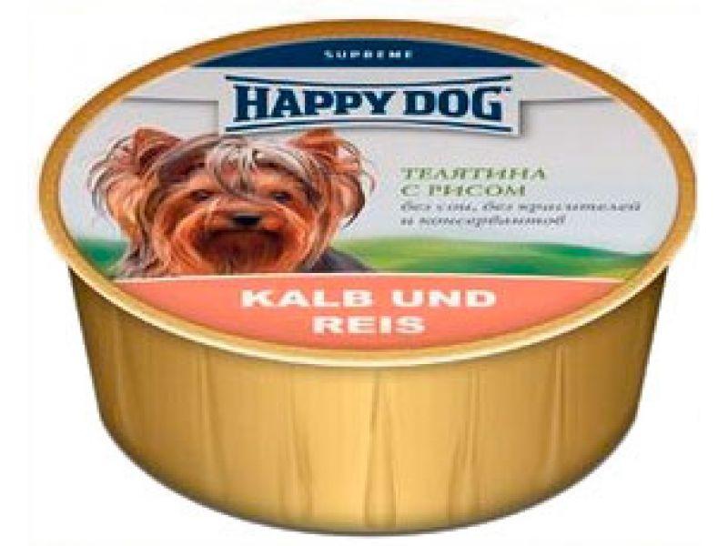 Нежный мясной паштет Happy Dog: ТЕЛЯТИНА и РИС для собак, 85 гр - Фото