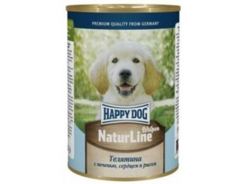 Влажный корм (консервы) Happy Dog: НЕЖНАЯ ТЕЛЯТИНА с печенью, сердцем и рисом для ЩЕНКОВ, 410 гр - Фото