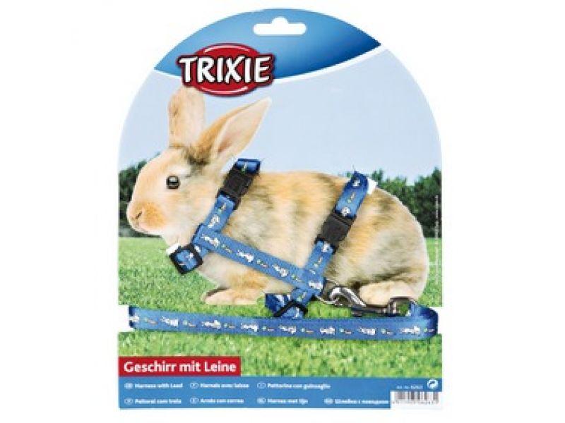 Trixie Шлейка с поводком для кролика, с рисунком (6263), 25-44 см/10 мм/1,25 м  - Фото