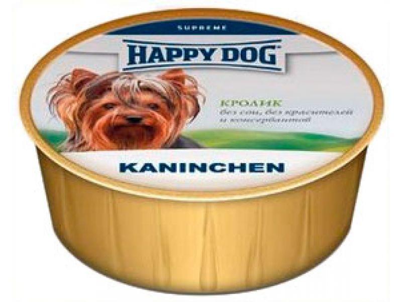Нежный мясной паштет Happy Dog: КРОЛИК для собак, 85 гр  - Фото