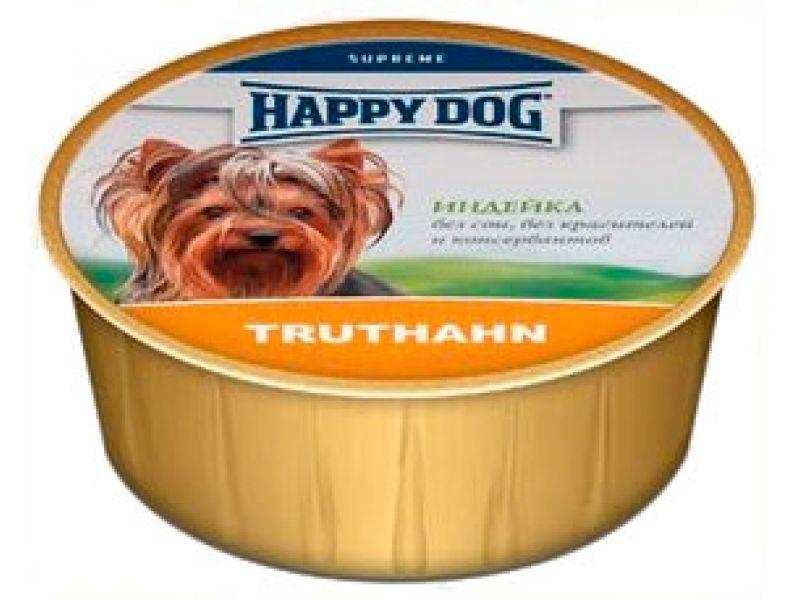Нежный мясной паштет Happy Dog: ИНДЕЙКА для собак, 85 гр  - Фото