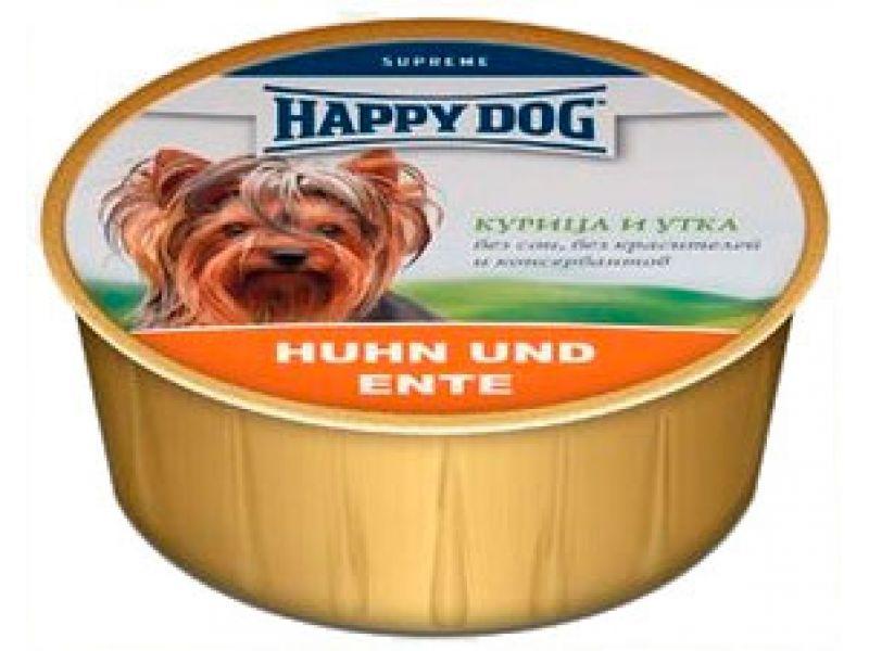Нежный мясной паштет Happy Dog: УТКА и КУРИЦА для собак, 85 гр   - Фото
