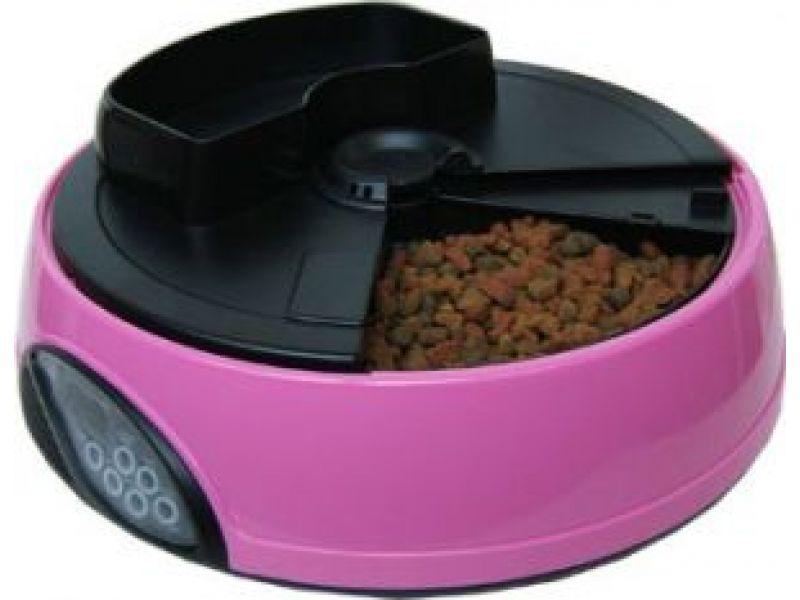 Автокормушка Feedex для кошек и собак с ЖК дисплеем и емкостью для льда (розовая) PF1P, 4 кормления  - Фото