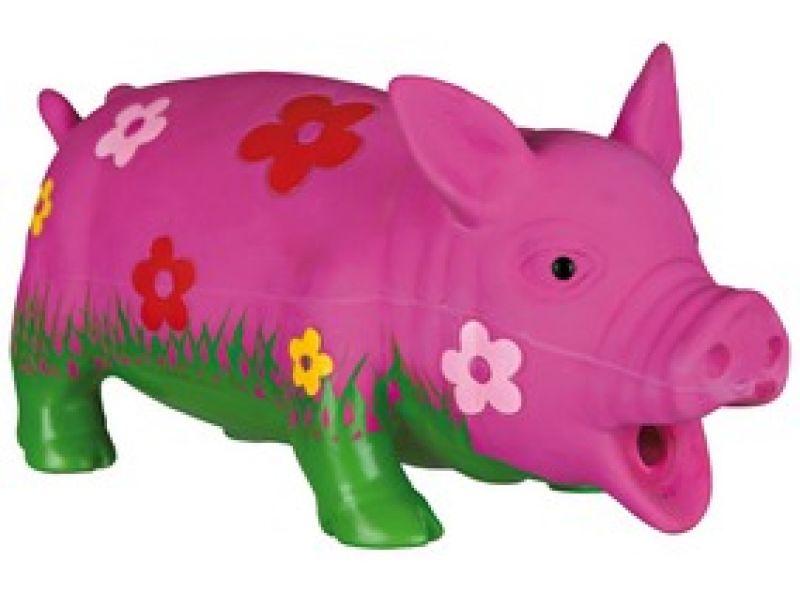 """Trixie Игрушка для собак """"Свинья в цветочек"""", латекс (35185), 20 см    - Фото"""
