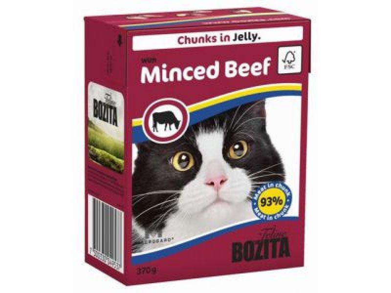 Bozita Feline Кусочки в ЖЕЛЕ с РУБЛЕНОЙ ГОВЯДИНОЙ (with Minced Beef), для кошек, 370 гр   - Фото