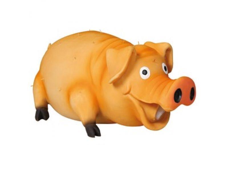 """Trixie Игрушка для собак """"Свинка со щетинкой"""" хрюкающая, латекс (35499), 21 см  - Фото"""