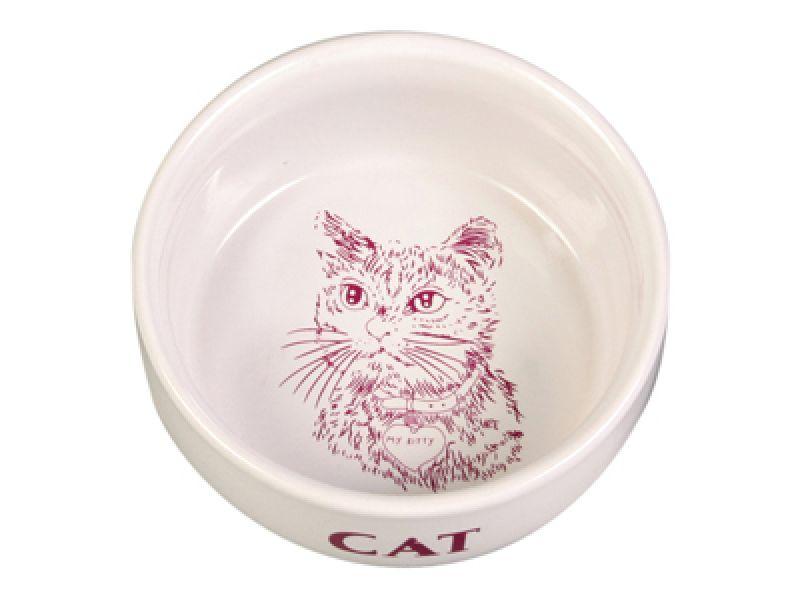 Миска Trixie керамическая для кошек (4010), 11 см, 300 мл  - Фото
