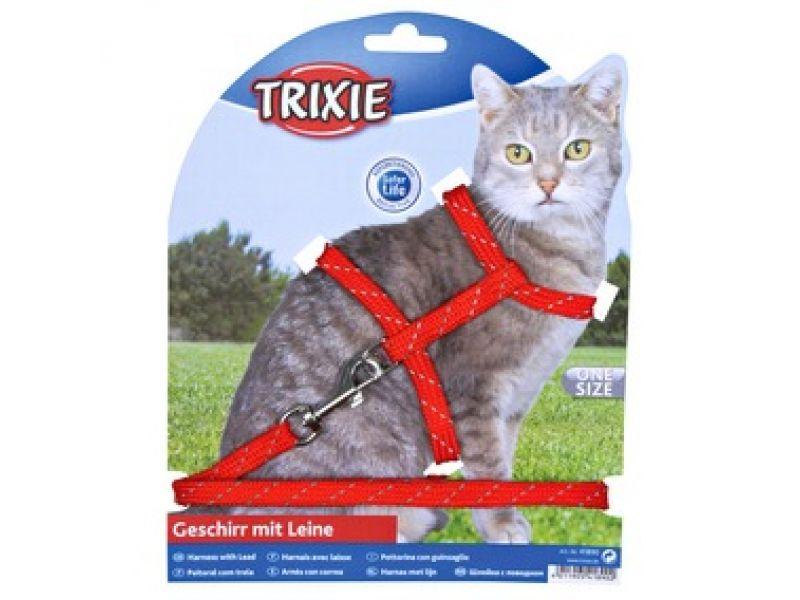 Trixie Шлейка светоотражающая с поводком для кошки, нейлон (4183), 18-35 см/10мм/1,3 м - Фото