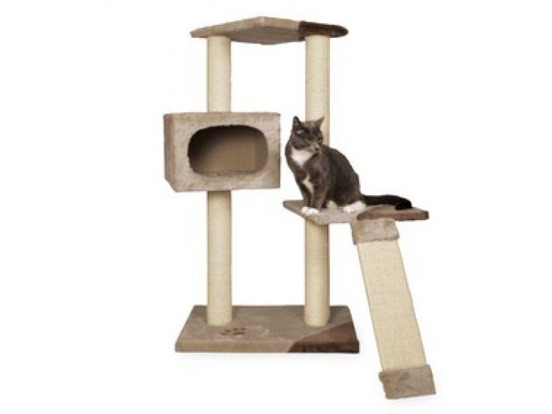 "Trixie Домик для кошки меховой ""Almeria"" (43601), 59*39*106 см    - Фото"