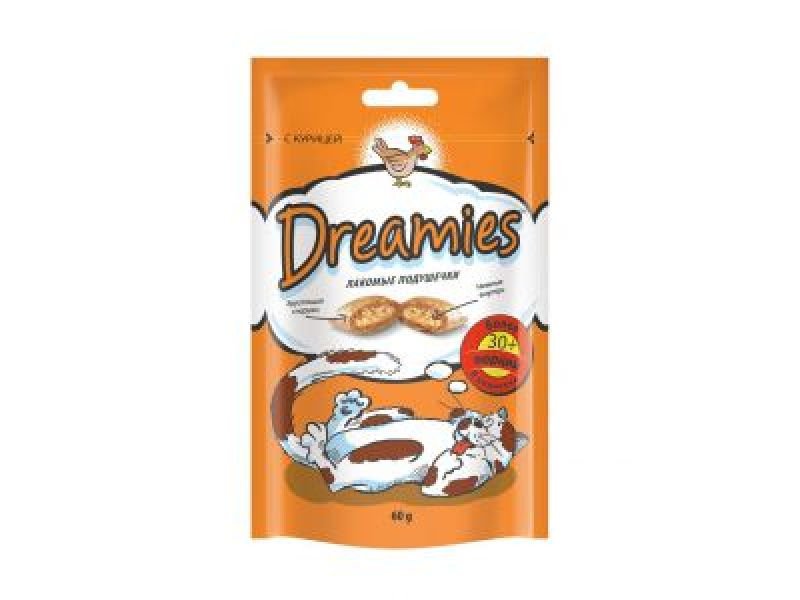 Dreamies Лакомые подушечки с КУРИЦЕЙ для кошек, 60 гр - Фото
