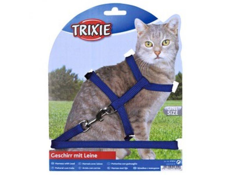 Trixie Шлейка одноцветная с поводком для кошки, нейлон (4185), 22-42 см/10мм/1,25 м  - Фото