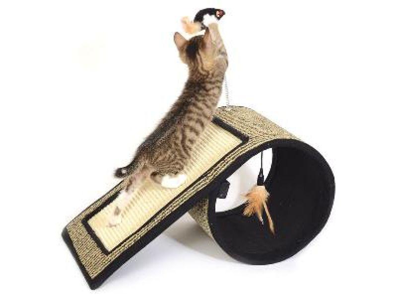 """Triol Когтеточка """"Туннель с игрушкой"""" для кошек, сизаль, d26*55 см - Фото"""