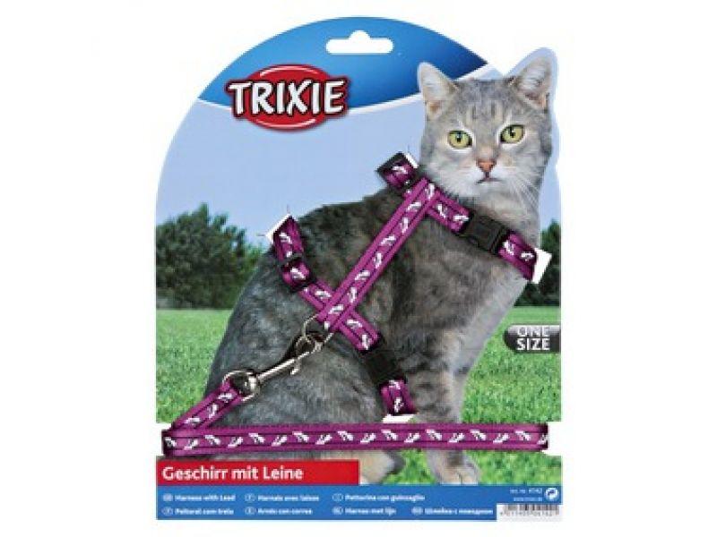 Trixie Шлейка с поводком для кошки 27-46см/10мм/1.20м, нейлон с рисунком (4142) - Фото