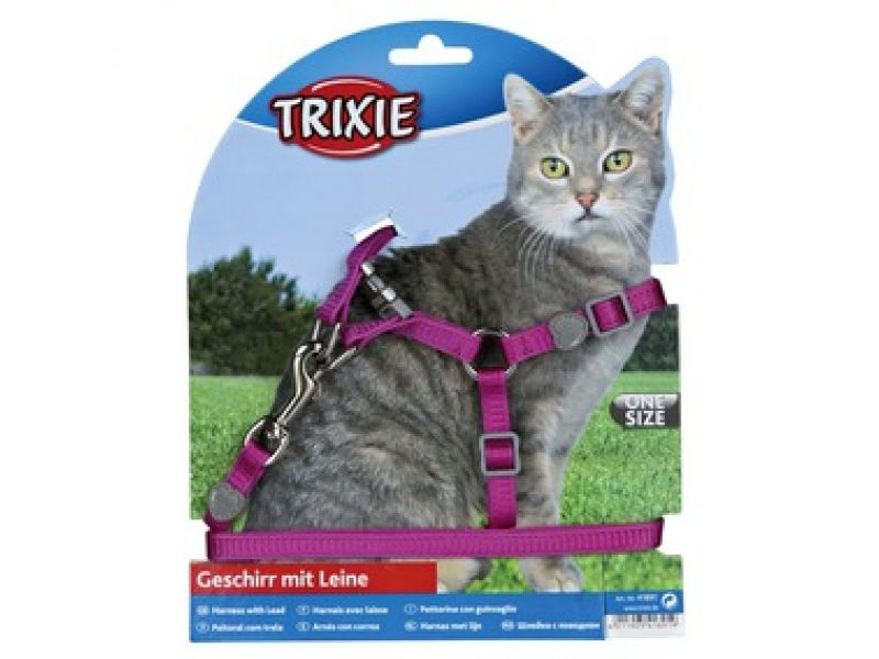 """Trixie Шлейка с поводком """"Premium"""" для кошки, нейлон (41891), 26-37 см/10мм/1,2 м  - Фото"""