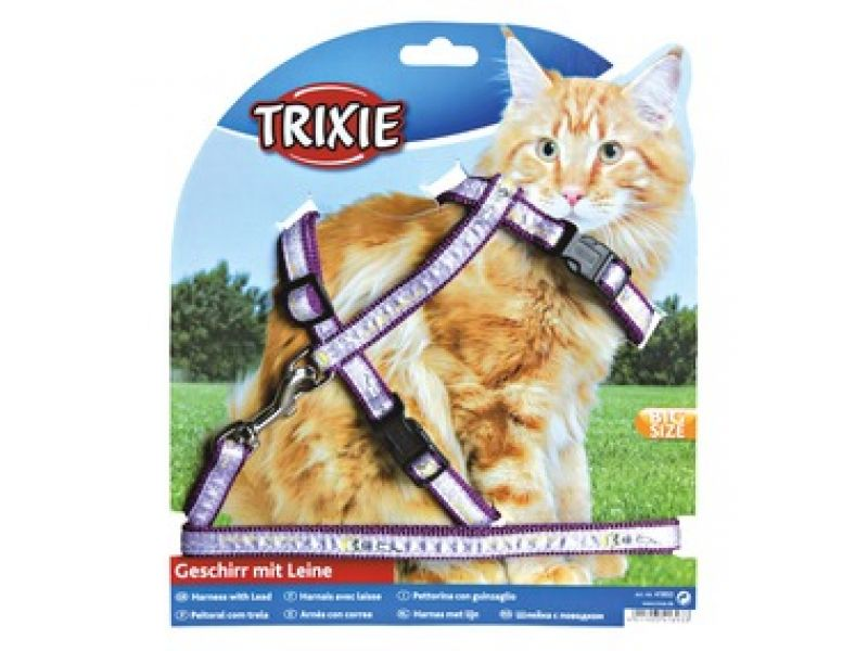 Trixie Шлейка с поводком для крупных кошек, нейлон (41893), 34-57 см/13мм/1,2 м   - Фото