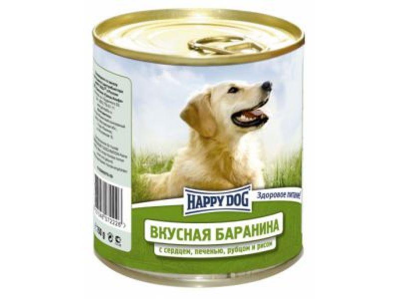 Влажный корм (консервы) Happy Dog с БАРАНИНОЙ, печенью, сердцем, рубцом и рисом для собак, 750 гр    - Фото