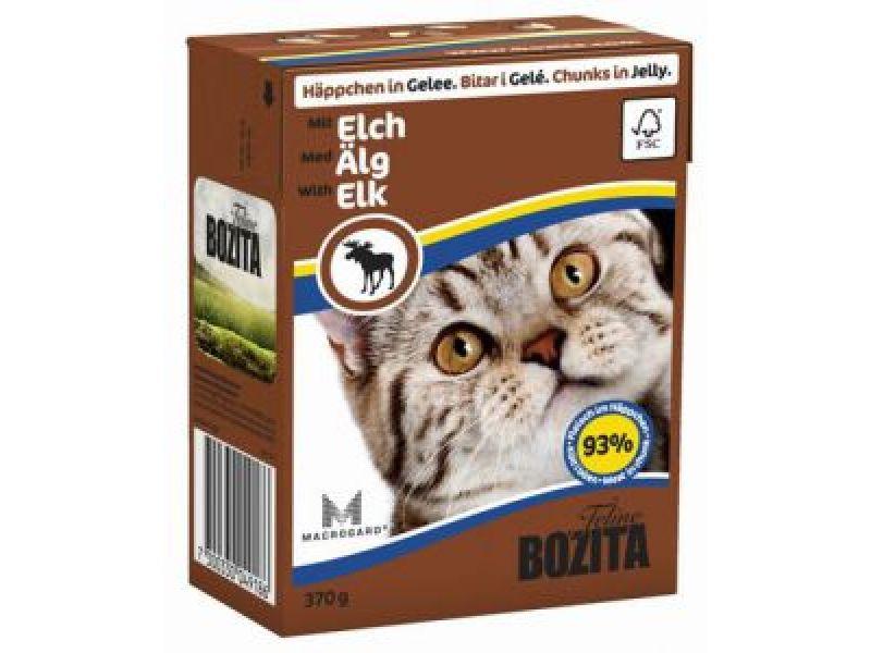 NEW Влажный корм для кошек BOZITA® Feline: Кусочки в ЖЕЛЕ с ЛОСЕМ (with Elk), 370 гр   - Фото