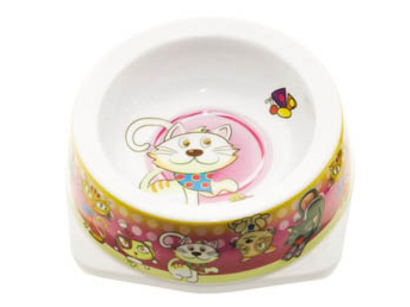 "Миска Dezzie пластиковая ""Розовая"" для кошек, 12,5*12,5*4,5 см, 150 мл - Фото"