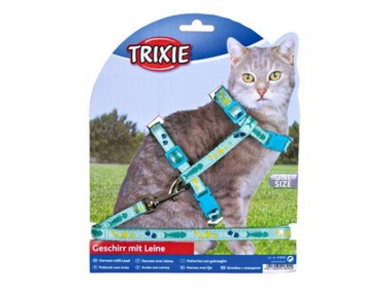 Trixie Шлейка с поводком для кошек, нейлон (4209), 22-36 см/10мм/1,2 м   - Фото