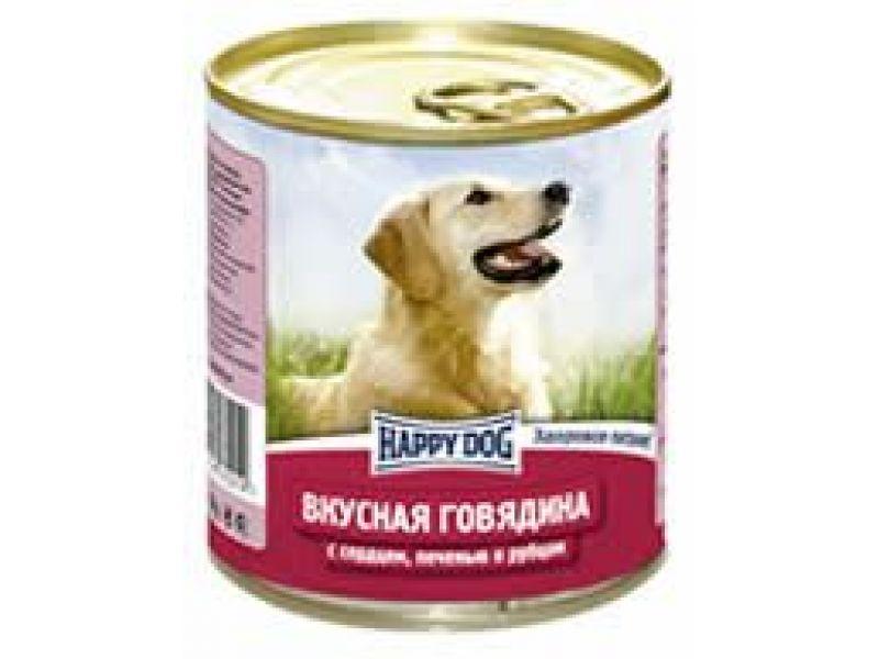 Влажный корм (консервы) Happy Dog с ГОВЯДИНОЙ, печенью, сердцем и рубцом для собак, 750 гр    - Фото