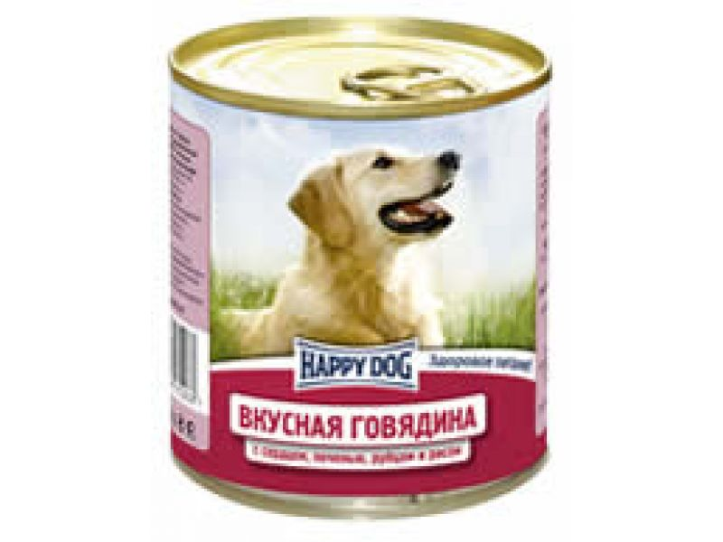 Влажный корм (консервы) Happy Dog с ГОВЯДИНОЙ, печенью, сердцем, рубцом и рисом для собак, 750 гр     - Фото