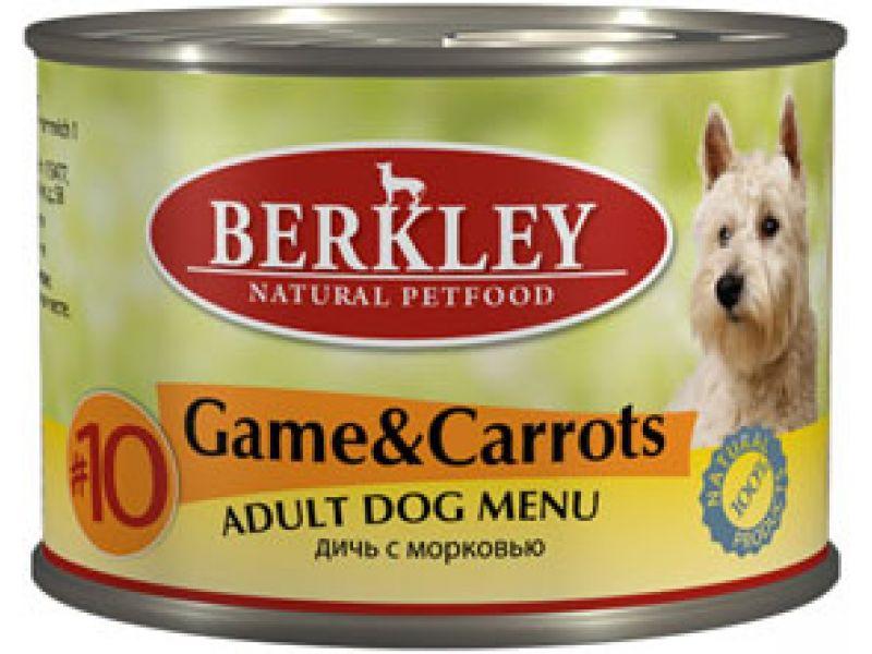 Влажный корм (консервы) Berkley с ДИЧЬЮ и МОРКОВЬЮ для взрослых СОБАК (Adult Game&Carrots), 200 г - Фото