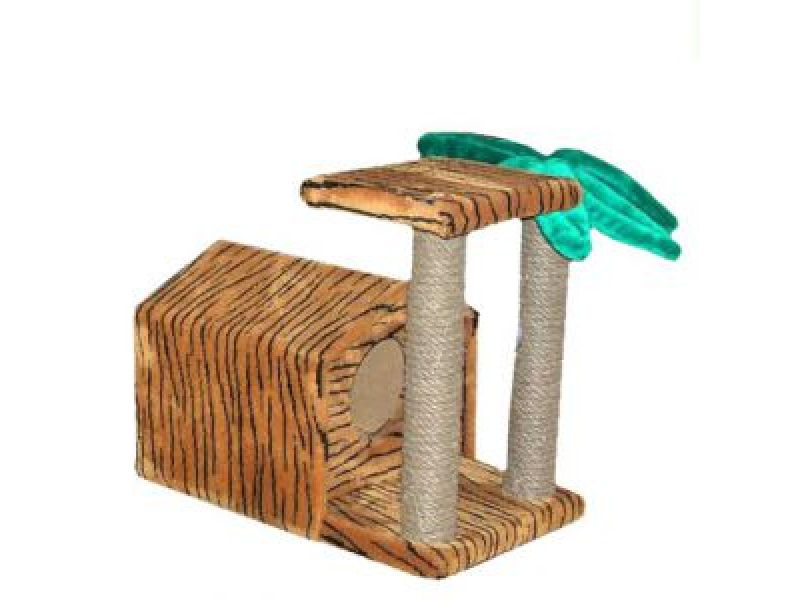 """Пушок Меховой домик для кошки """"Тропический"""", 72*41*52 см - Фото"""