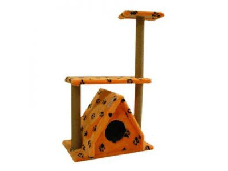 """Пушок Меховой домик для кошки """"Избушка"""" с 3мя когтеточками, 67*40*105 см - Фото"""