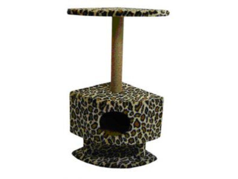 Пушок Домик для кошек меховой угловой на ножках, 43*43*98 см - Фото