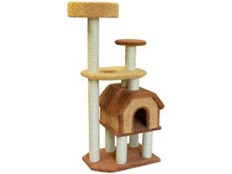"""Пушок Домик для кошек ковролиновый """"Конура на высоких ножках"""", 47*68*148 см - Фото"""