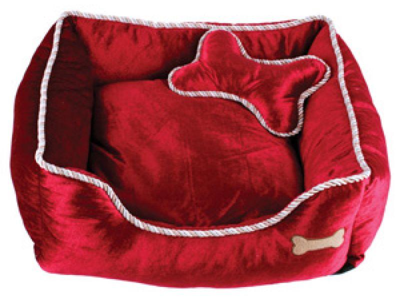 Dezzie Лежак для животных, с косточкой, нейлон, красный, 51*51*15 см  - Фото