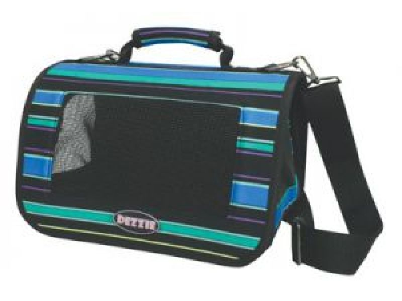 Dezzie Сумка-переноска для животных в сине-черную полоску для собак , 35*24*23см - Фото