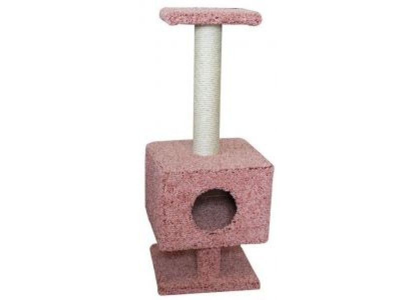 Пушок Домик для кошки ковролиновый квадратный на ножках, 38*38*100 см  - Фото