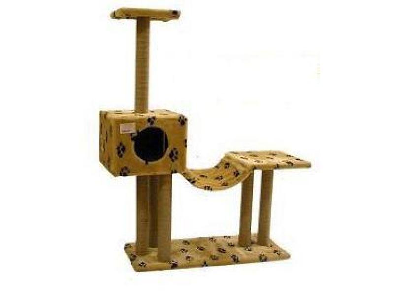 Пушок Домик для кошек меховой с гамаком и площадкой, 108*38*130 см  - Фото