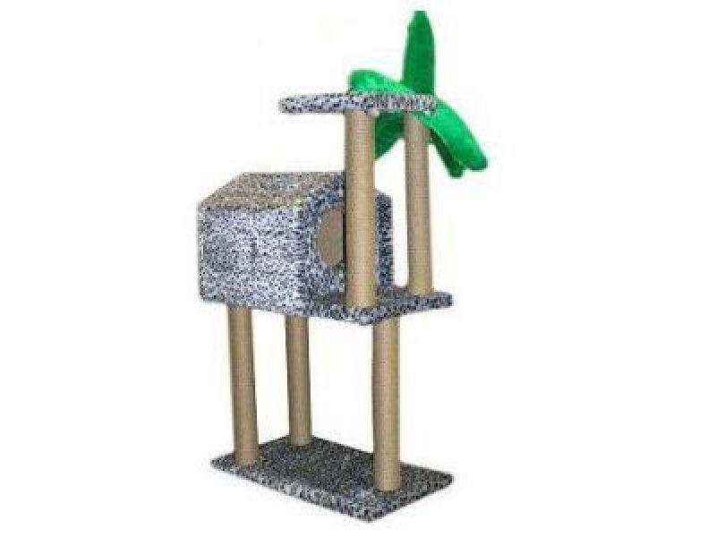 """Пушок Меховой домик для кошки """"Тропический"""" на высоких ножках, 72*41*104 см - Фото"""