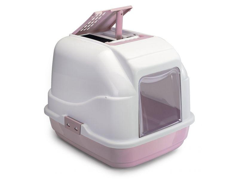 IMAC Туалет  закрытый Easy Cat с УГОЛЬНЫМ ФИЛЬТРОМ и совком, для кошек, пепельно-розовый, 50*40*40 см  - Фото