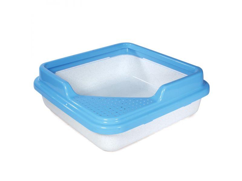 Triol Туалет квадратный с бортом, для кошек, белый мрамор, 43,5*43,5*14,5 см   - Фото
