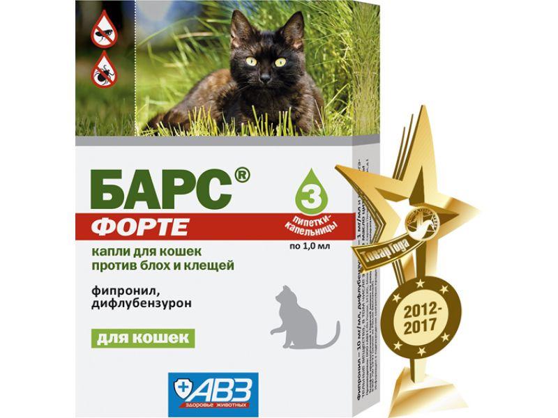 Агроветзащита Барс Форте Капли для кошек от блох и клещей, 3 пипетки по 1 мл (фипронил) - Фото