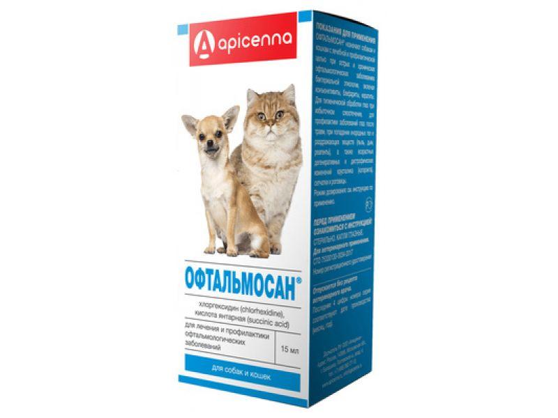 Апи-Сан (Apicenna) ОФТАЛЬМОСАН - глазные капли, для собак и кошек, 15 мл    - Фото