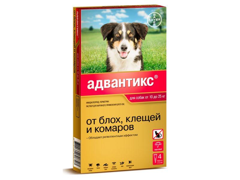 Bayer Адвантикс Капли от блох и клещей для собак весом 10 - 25 кг, 4 пипетки   - Фото