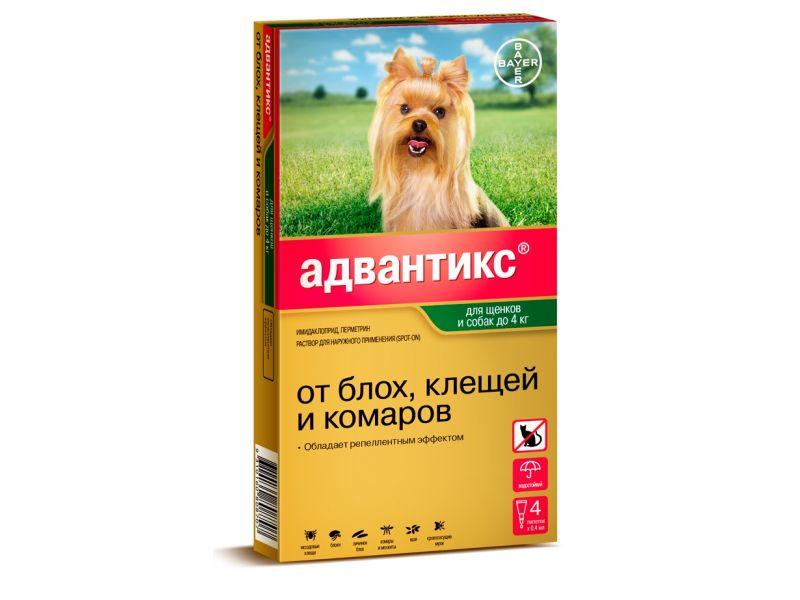 Bayer Адвантикс Капли от блох и клещей для собак весом до 4 кг, 4 пипетки - Фото