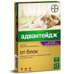 ТОВАР ДНЯ!!! Bayer Адвантейдж Капли от блох, вшей и власоедов для кошек весом от 4 кг, 4 пипетки
