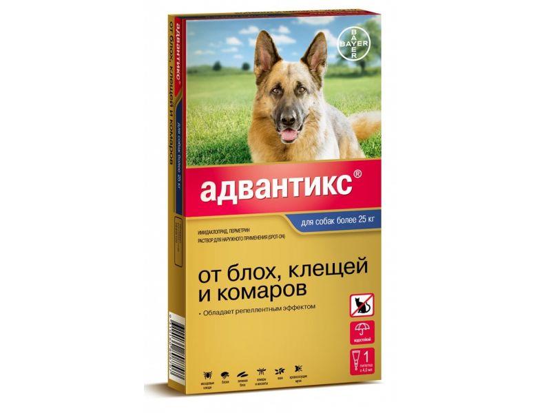 Bayer Адвантикс Капли от блох и клещей для собак весом от 25 кг, 4 пипетки    - Фото